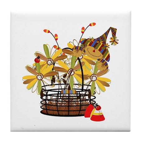 Scarecrow Fall Fowers Tile Coaster