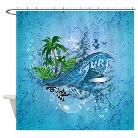 surfing surfboard shower curtain