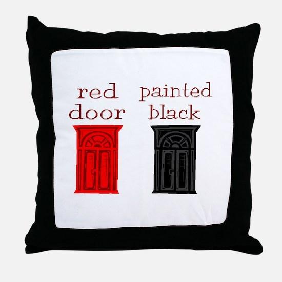 red door painted black Throw Pillow