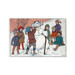 1930's Snow Fun #5 Rectangle Magnet (100 pack)