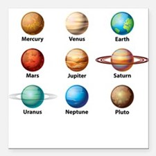 "Planets Of The Solar System Square Car Magnet 3"" x"