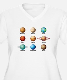 Planets Of The Solar System Plus Size T-Shirt