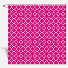 Hot pink Quatrefoil pattern Shower Curtain