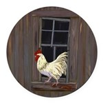 Rooster in the Window Round Car Magnet