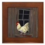 Rooster in the Window Framed Tile