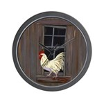 Rooster in the Window Wall Clock