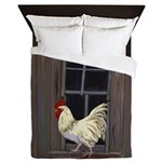 Rooster in the Window Queen Duvet
