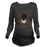 Rooster in the Window Long Sleeve Maternity T-Shir