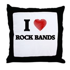 I love Rock Bands Throw Pillow