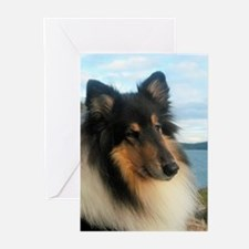 Collie by the Ocean Greeting Cards