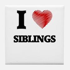 I love Siblings Tile Coaster