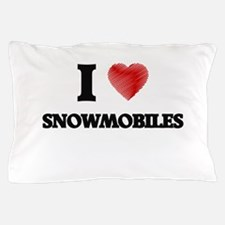 I love Snowmobiles Pillow Case