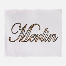 Gold Merlin Throw Blanket