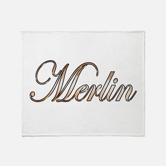 Gold Merlin Throw Blanket