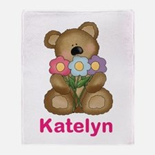 Katelyn's Bouquet Bear Throw Blanket