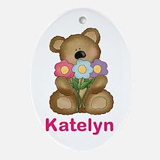 Katelyn's Bouquet Bear Oval Ornament