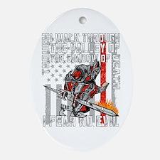 I Fear No Evil Firefighter Crusader Oval Ornament