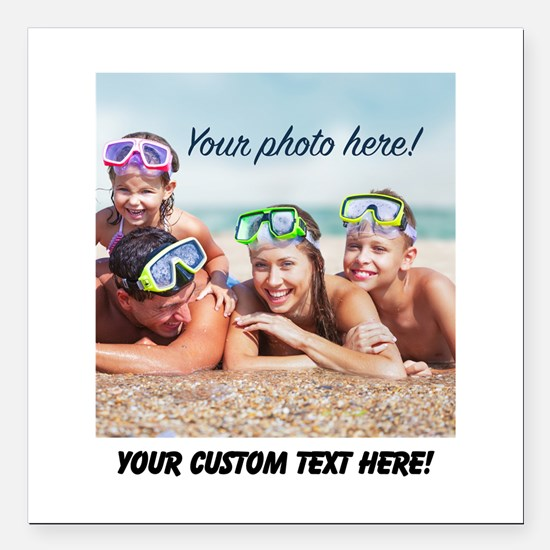 """Custom Photo And Text Square Car Magnet 3"""" x 3"""""""