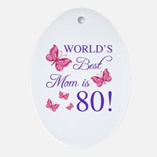 Cute Worlds best mom Oval Ornament
