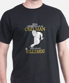 Never Underestimate Billiards Old Man T-Shirt