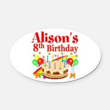 HAPPY 8TH Oval Car Magnet