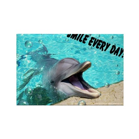 Smiling dolphin Rectangle Magnet (100 pack)