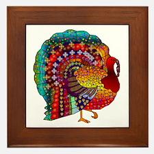 Thanksgiving Jeweled Turkey Framed Tile