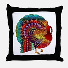 Thanksgiving Jeweled Turkey Throw Pillow