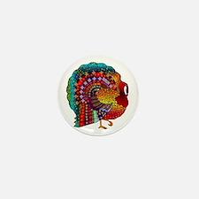 Thanksgiving Jeweled Turkey Mini Button