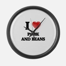 I love Pork And Beans Large Wall Clock
