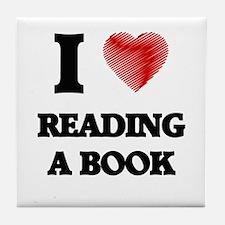 I love Reading A Book Tile Coaster
