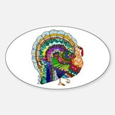 Patchwork Thanksgiving Turkey Sticker (Oval)
