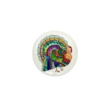 Patchwork Thanksgiving Turkey Mini Button