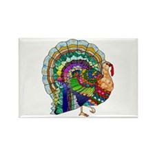 Patchwork Thanksgiving Turkey Rectangle Magnet