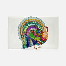 Patchwork Thanksgiving Turkey Rectangle Magnet