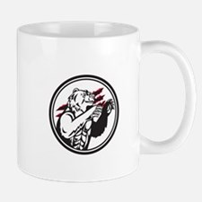 California Grizzly Bear Smirk Paw Circle Retro Mug