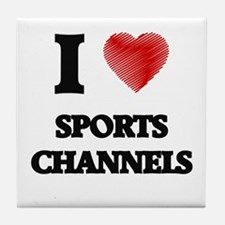 I love Sports Channels Tile Coaster