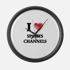 I love Sports Channels Large Wall Clock