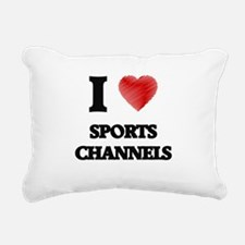 I love Sports Channels Rectangular Canvas Pillow