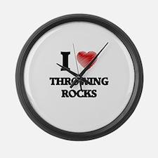 I love Throwing Rocks Large Wall Clock