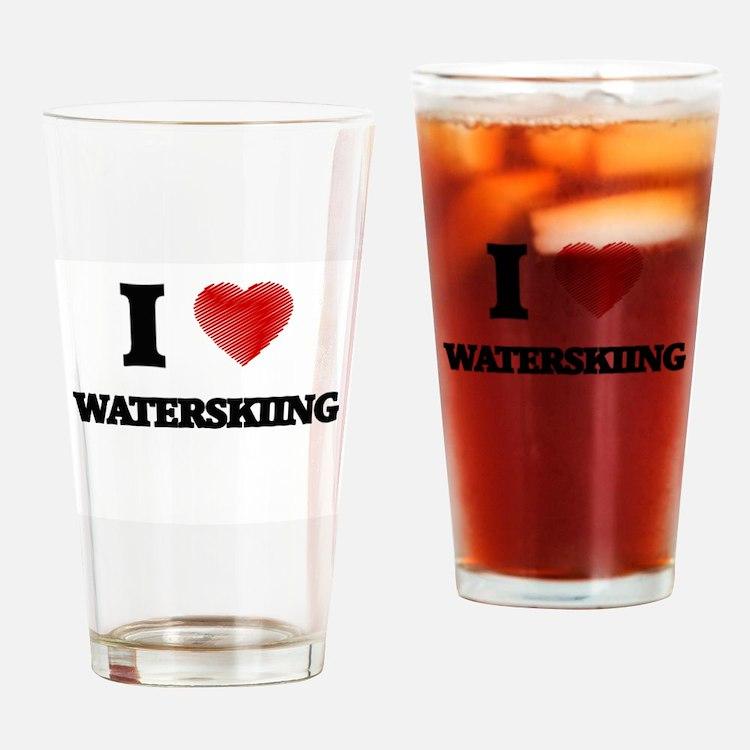 I love Waterskiing Drinking Glass