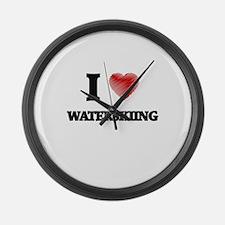 I love Waterskiing Large Wall Clock