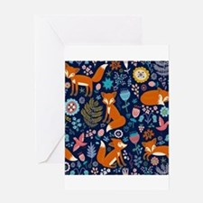 Cute Red Foxes & Colorful Retro Flo Greeting Cards