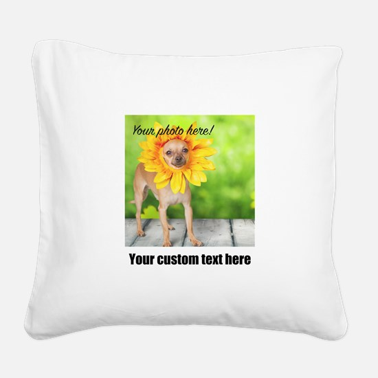 Custom Photo And Text Square Canvas Pillow