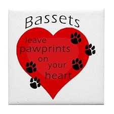 Bassets leave pawprints... Tile Coaster