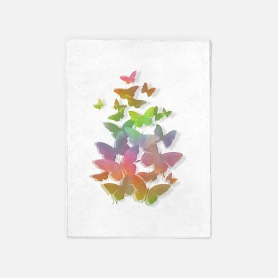 Rainbow Butterflies in Flight 5'x7'Area Rug