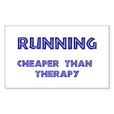 Running: Cheaper than therapy Sticker (Rectangular
