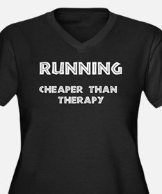 Running: Cheaper than therapy Women's Plus Size V-