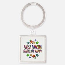 Salsa Dancing Happy Square Keychain