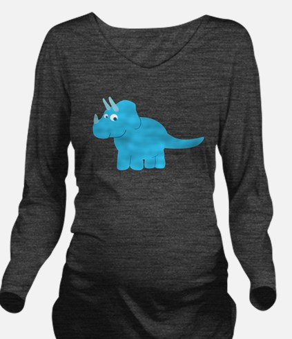 Cute Triceratops Din Long Sleeve Maternity T-Shirt